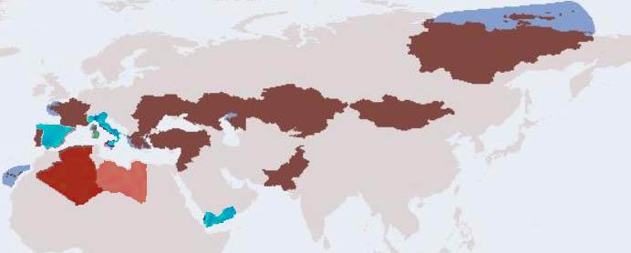 Sinottico delle distribuzioni delle specie citate